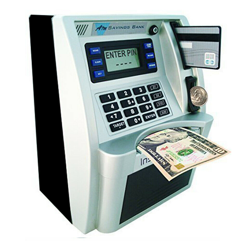 Automatic Electronic Piggy Bank Cash Coin ATM Password Money Safe Saving Gift