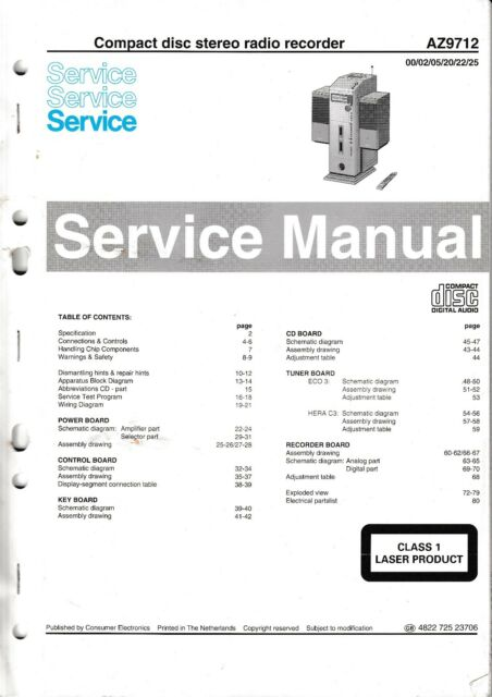 Service Manual Instructions For Philips Az 9712