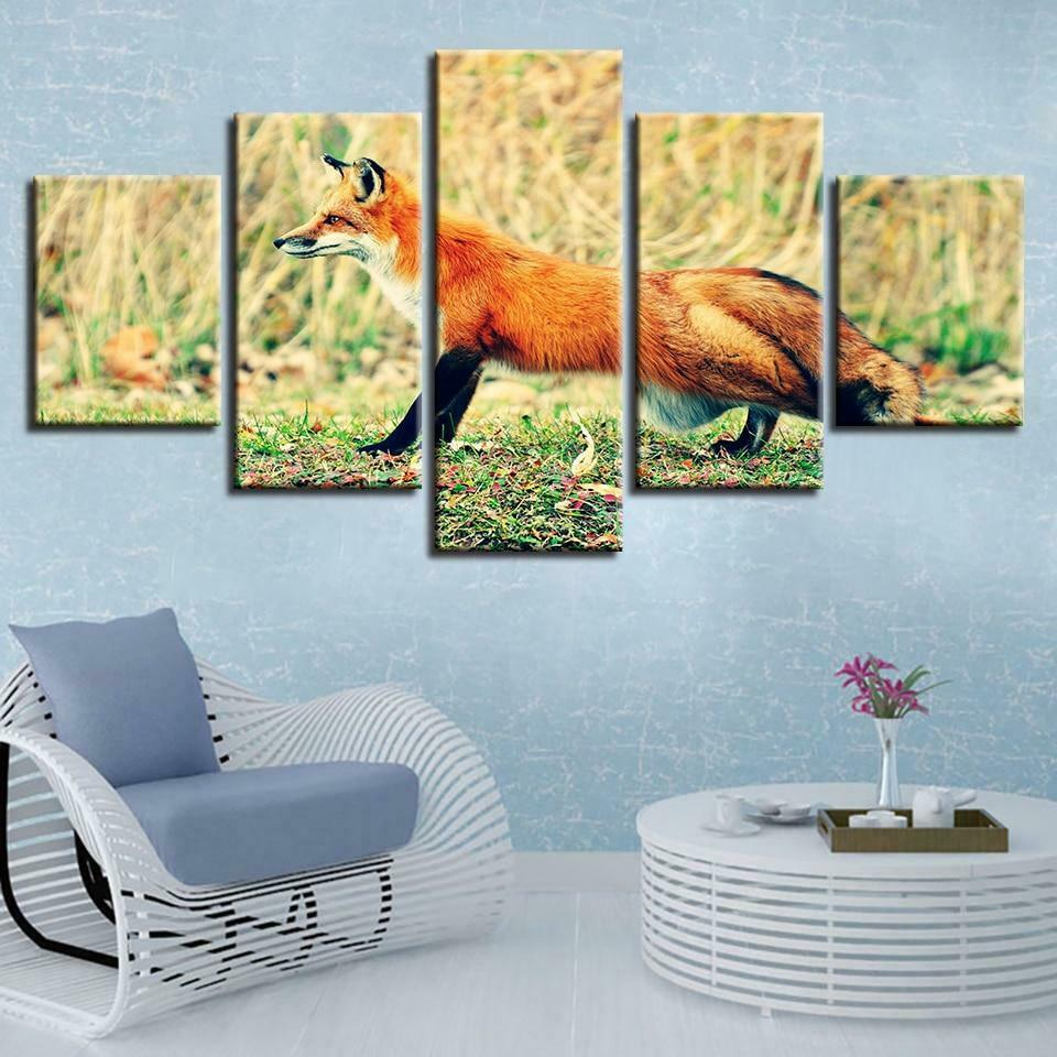Fox On The Ground 5 panel canvas Wall Art Home Decor Poster Print