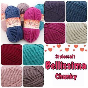 Stylecraft-BELLISSIMA-CHUNKY-Knitting-Crochet-Soft-Acrylic-Yarn-100g