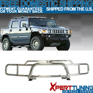 Fits 03 09 Hummer H2 Suv Brush Chrome Grille Guard Double Bars Stainless Steel Ebay