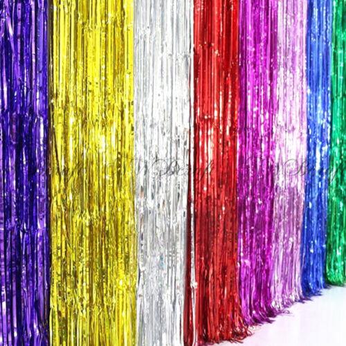 Metallic Fringe Curtain Party Foil Tinsel Birthday Home Wedding Room Xmas Decor