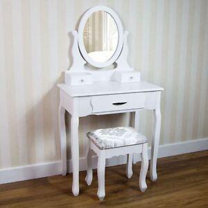 Nishano Dressing Table 3 Drawer Stool Mirror Bedroom Furniture Makeup Desk White