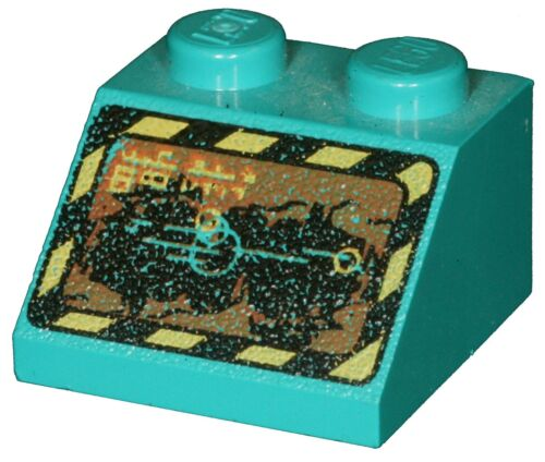Missing Lego Brick 3039px15 Teal Slope Brick 45 2 x 2 with Black and Yellow Bord
