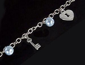 925-ECHT-SILBER-RHODINIERT-Massives-Perlen-blau-Armband-Armkette-Herz-Schluessel
