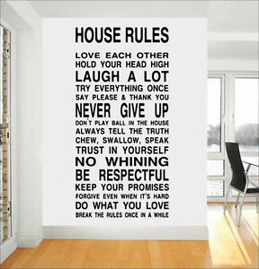 Details About House Family Home Rules Quote Wall Stickers Dining Room Removable Decals Diy