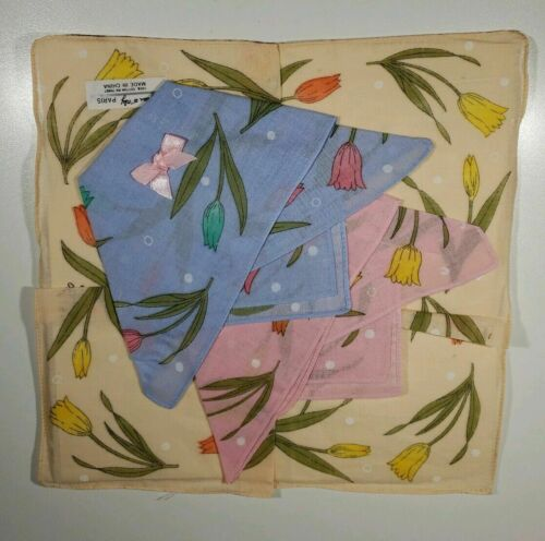 Vintage Jean D/'Orly Paris Hankies  Floral 3 piece set Unused