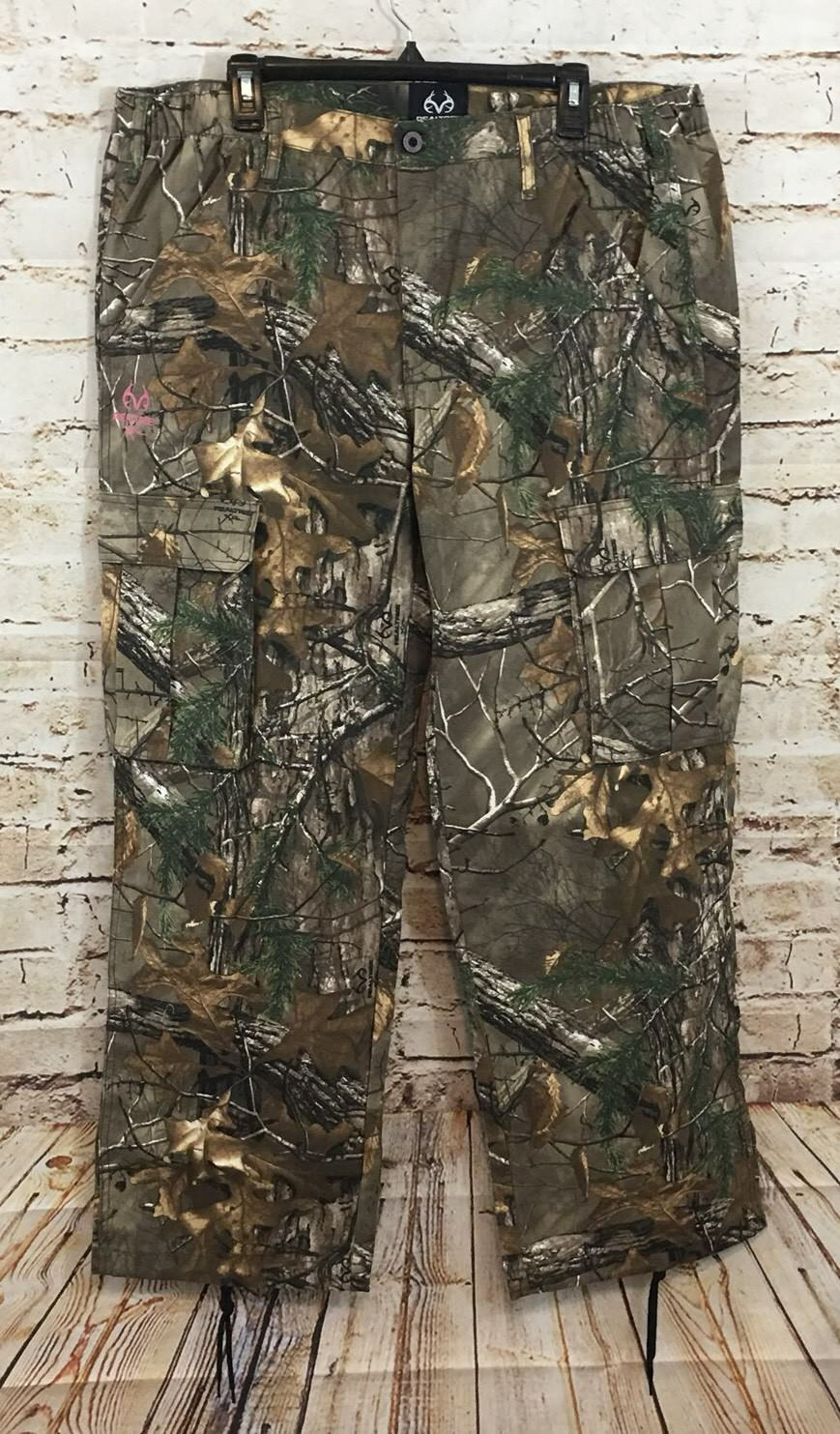 Realtree Xtra Cargo Pants womens XL camo Camouflage NEW side elastic C4