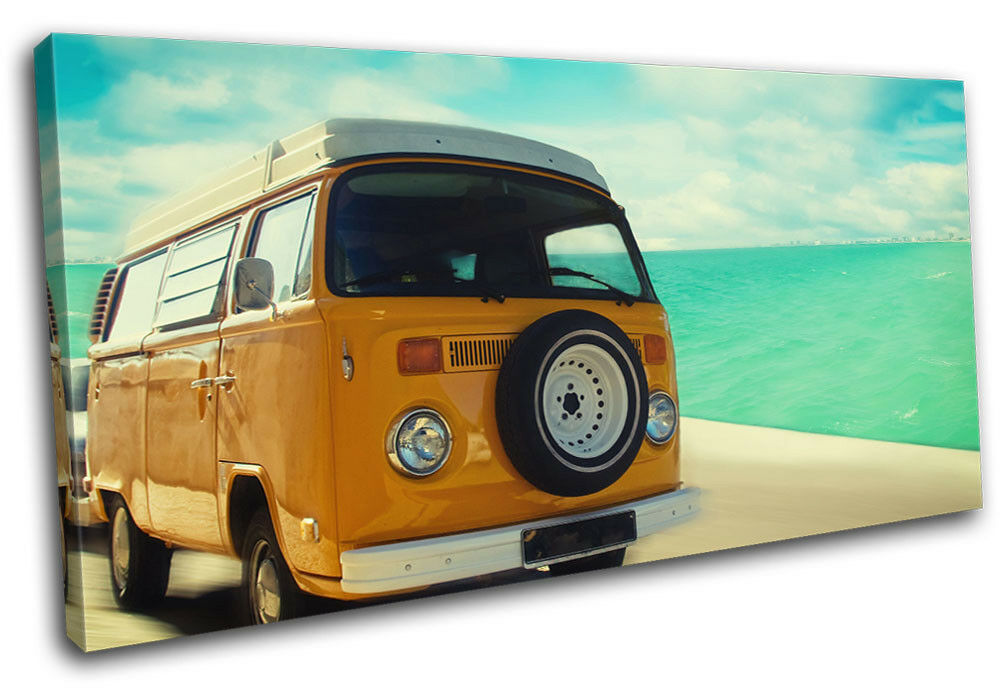 Camper Van  Seaside  Transportation SINGLE LONA pa rojo  Van arte Foto impresion 7d4137