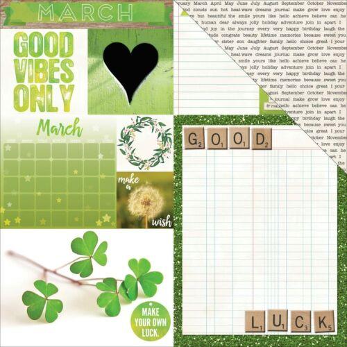 BoBunny 12x12 Scrapbooking paper Calendar Girl Collection March 2 sheets