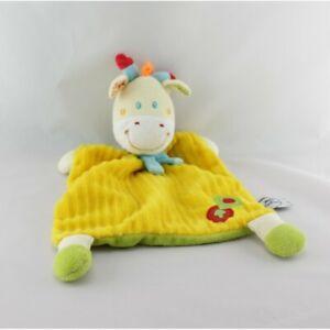 Doudou-plat-Girafe-jaune-vert-pomme-MOTS-D-039-ENFANTS-Vache-Girafe-Plat-Semi