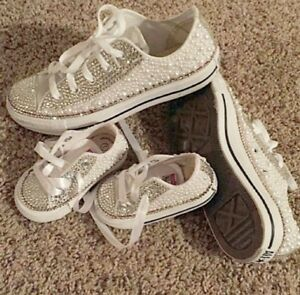 Crystal DIAMANTE Pearl Bling Occasion Shoes Lo White Converse KIDS ... 7b9029883