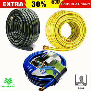 NON-KINK-FLEXIBLE-GARDEN-WATER-HOSE-25-50-75-100-Feet-5-8-Inch-3-4-Inch-Colorful