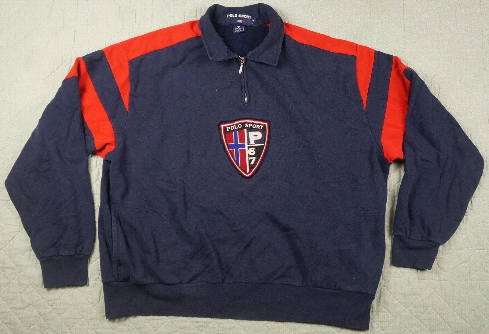 Rare VTG POLO SPORT Ralph Lauren Spell Out P67 Police Shield Sweatshirt 90s XL