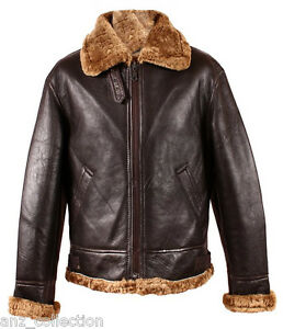 60ddc592d Details about Men's RAF Aviator B3 Ginger Shearling Sheepskin WW2 Leather  Brown Flying Jacket