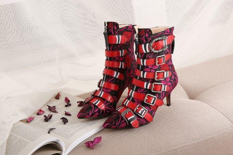 Para Mujer Tacones de aguja bordado de cuero cuero de con hebilla botas al Tobillo Zapatos Cremallera Puntera Puntiaguda de806d