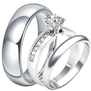 His-Hers-Titanium-amp-Stainless-Steel-Princess-CZ-Engagement-Ring-Wedding-Band-Set