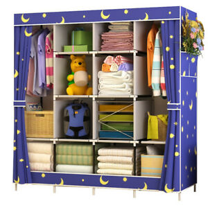 3ce001ae3ad9 Details about Large Capacity Non-woven Cloth Wardrobe Folding Portable DIY  Wardrobe Clothes