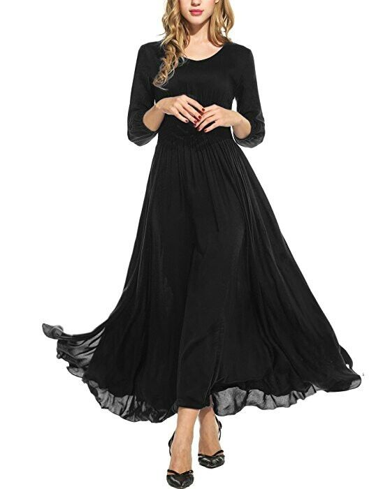 Meaneor Women Empire Waist Maxi Dress Flowy Split Evening Gown Party Long Dress