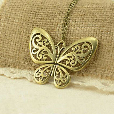 NEW Womens Fashion Retro Carved Butterfly Pendant Long Chain Sweater Necklace
