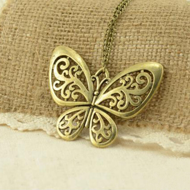 NEW Women Fashion Retro Carved Butterfly Pendant Long Chain Sweater Necklace