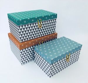 Set-of-3-Storage-Craft-Boxes-amp-Lids-Retro-Cardboard-Geometric-Design-Office-Tidy