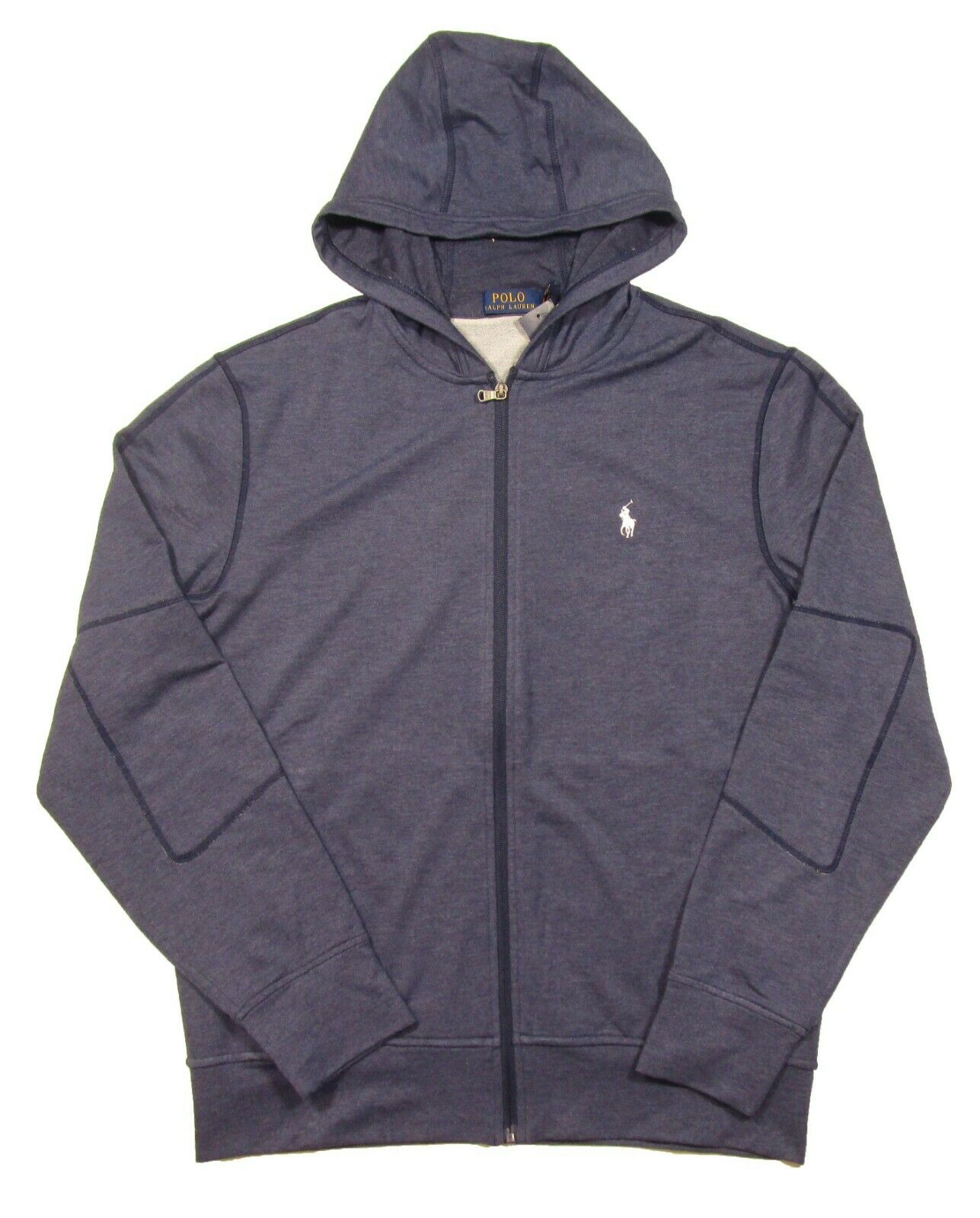 Polo Ralph Lauren Men's bluee Heather Elbow Patch French Terry Full Zip Hoodie
