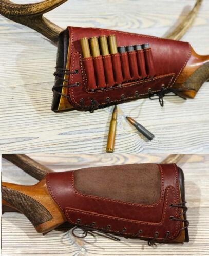 Genuine Leather New Model ButtStock Cover Rifle Ammo Holder Cheek Rest Padded