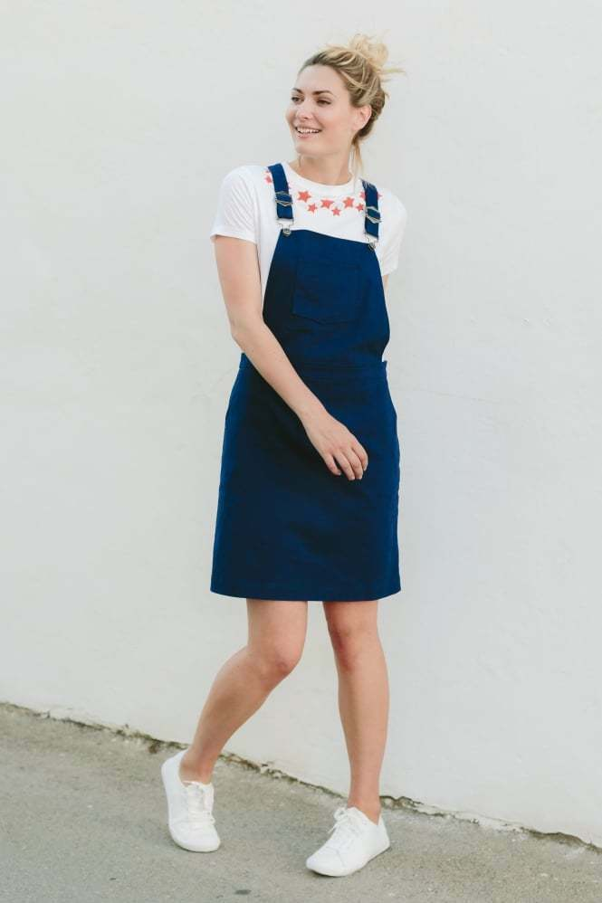 Sugarhill Blossom Toni bluee Apron Dungaree Dress Navy Size DH180 SS 05