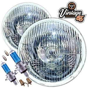"""Classic Triumph Domed 7/"""" Halogen Conversion Headlight Kit /& Mounting Bowls"""