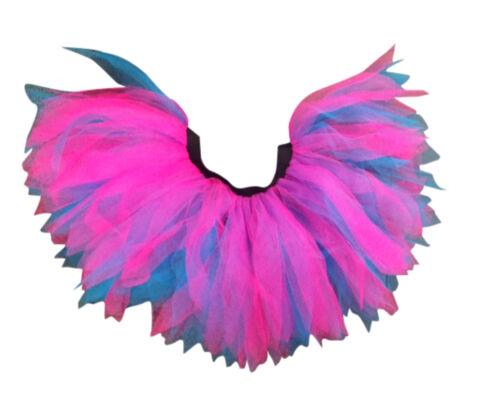 Rose Fluo Bleu Tutu Jupe I Love 80 s Déguisement Enterrement Vie Jeune Fille Fun Run école de danse