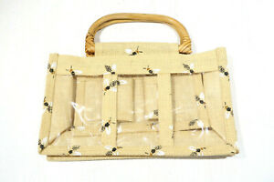 NEW-Burt-s-Bees-Hygiene-Makeup-Toiletry-Travel-Bag-Wooden-Handles-Burlap