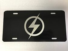 The Flash Logo Car Tag Diamond Etched on Black Aluminum License Plate