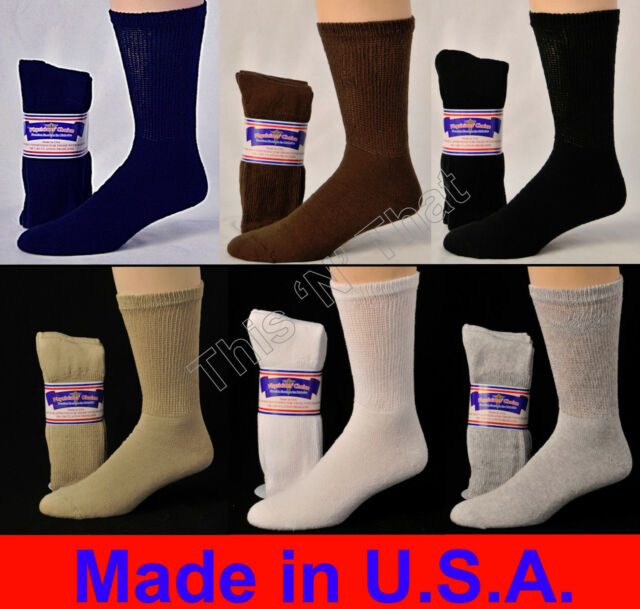 Physicians Choice Diabetic Socks-12 pr-6 wht-6 blk Crew 13-15-Made in USA