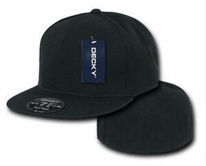 Decky Retro Fitted Baseball Cap Blank Plain Hat Black 6 7 8 ~ 7 3 4 ... b607394ff0ef