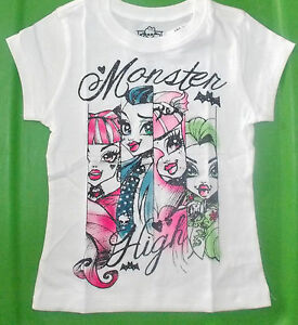 Monster-High-Girls-White-T-Shirts-Sizes-XSmall-4-and-Small-5-6-NWT