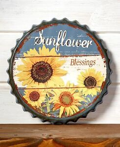 Image Is Loading Rustic Sunflower Bottle Cap Wall Decor Vintage Retro