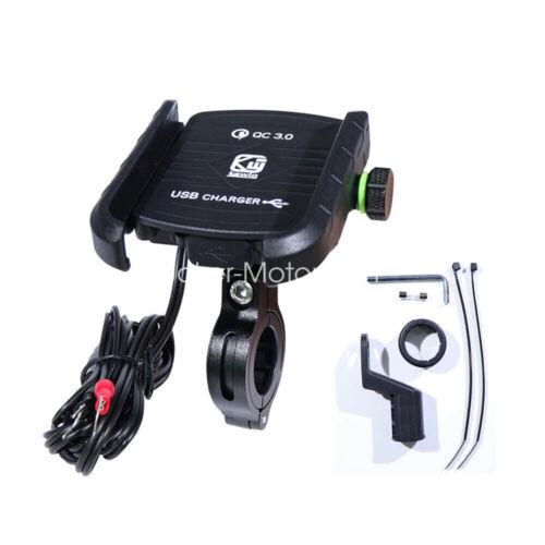 Black Motorcycle Metal Handlebar Mirror Base Mount Cell Phone Holder USB Charger