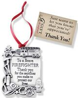 Plaque Shaped Firefighter Ornament To A Brave Firefighter Thank You Camco Co762