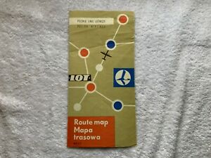 LOT-POLISH-AIRLINES-1962-EUROPE-ROUTE-MAP-PARIS-LONDON-BRUSSELS-POLAND-TRAVEL