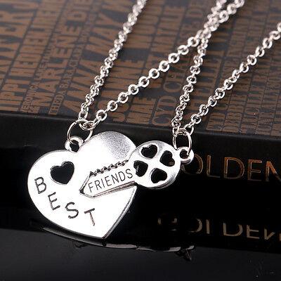2PCs Best Friends Heart Lock Key Pendant Necklaces Friendship Gift New