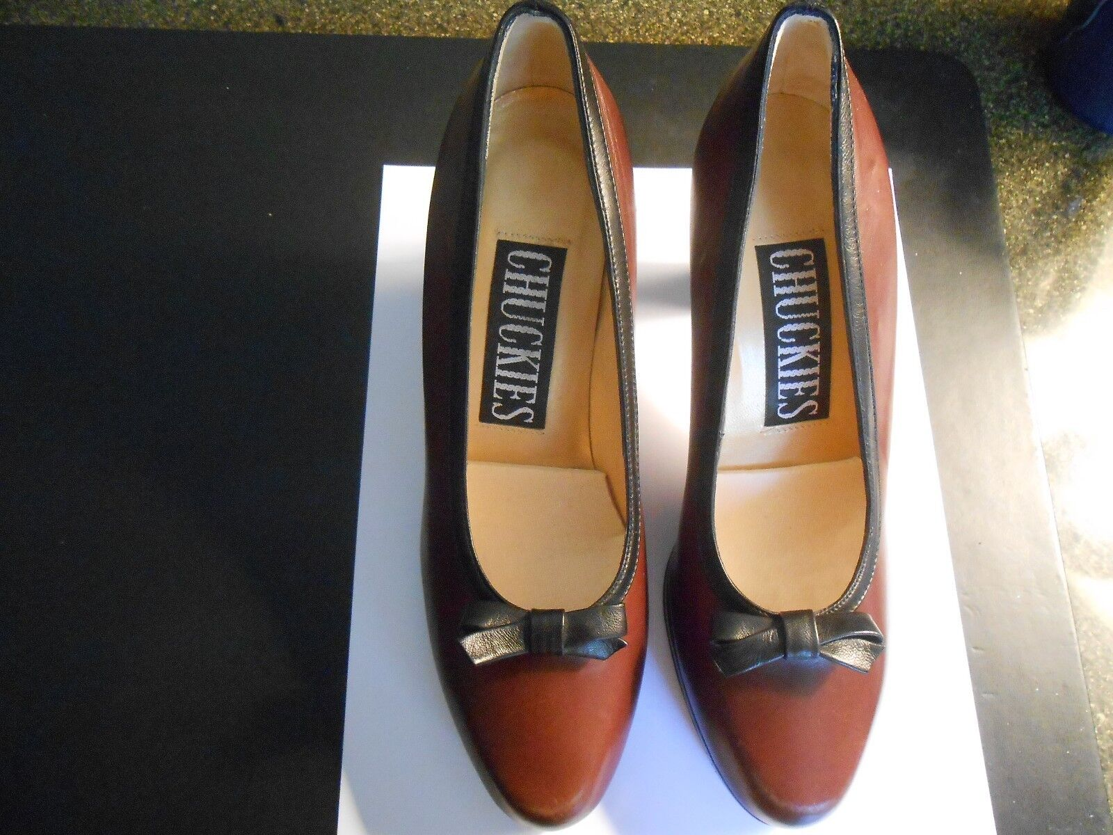 "CHUCKIES--CORDOVAN BLACK TRIM PUMPS--MADE IN ITALY--36 1 2 (WIDTH 3"")"