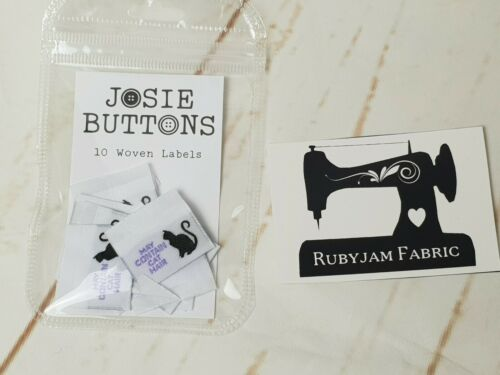 Josie Buttons clothing labels sew in woven tags May Contain Cat Hair