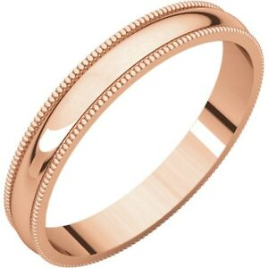 SOLID-14K-ROSE-GOLD-3MM-MILGRAIN-DESIGN-WEDDING-BAND-RING