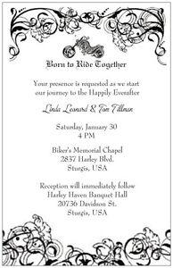 30 50 100 MOTORCYCLE B & W Harley Born Ride PERSONALIZED WEDDING Invitation