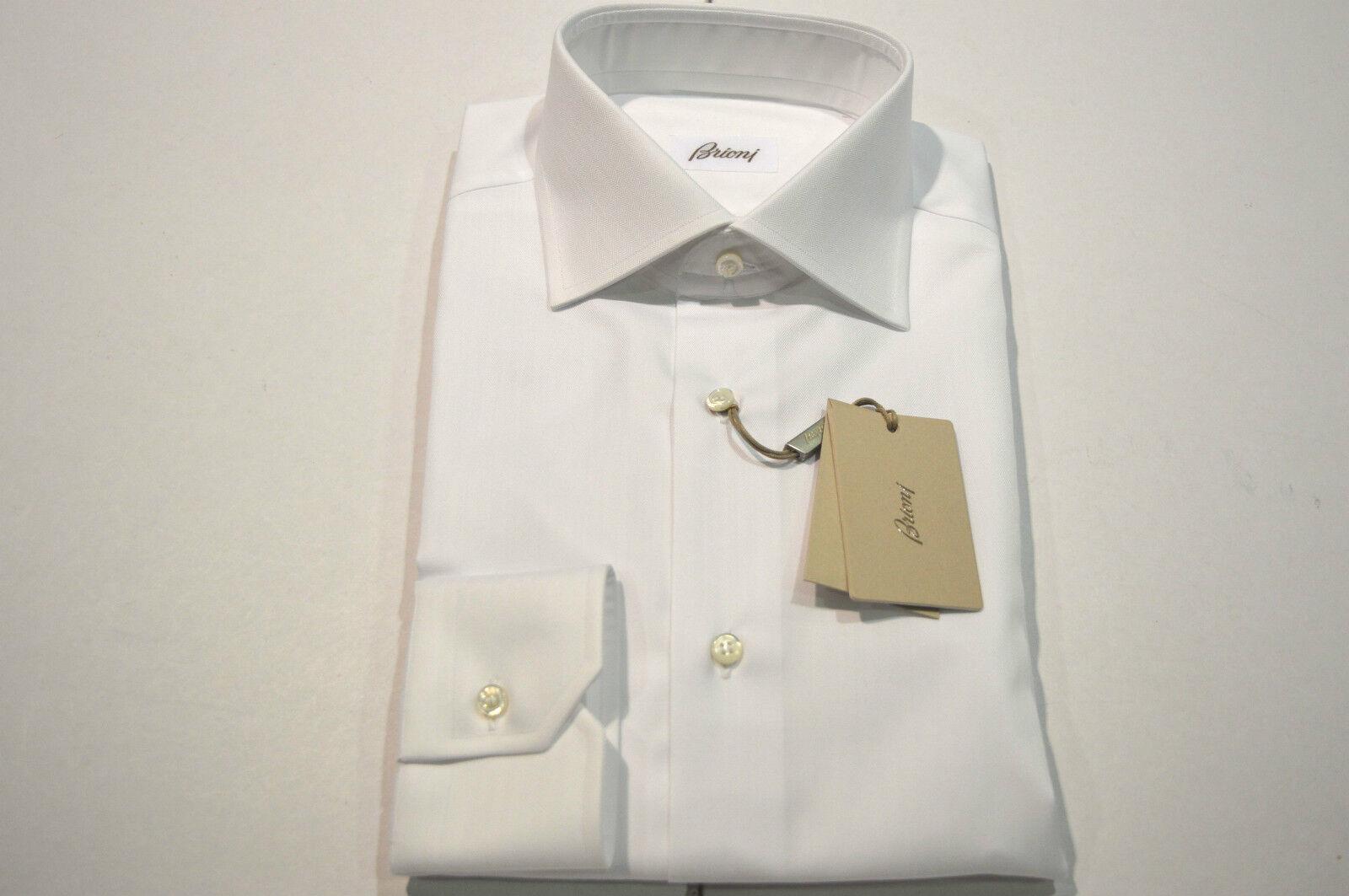NEW  BRIONI Dress hemd 100% baumwolle Größe 15.75 Us 40 Eu Weiß (Store Code SE1)
