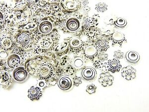 200 x Silver Plated 6.5mm Bead Caps Jewellery Findings Beads FREE UK P+P E138