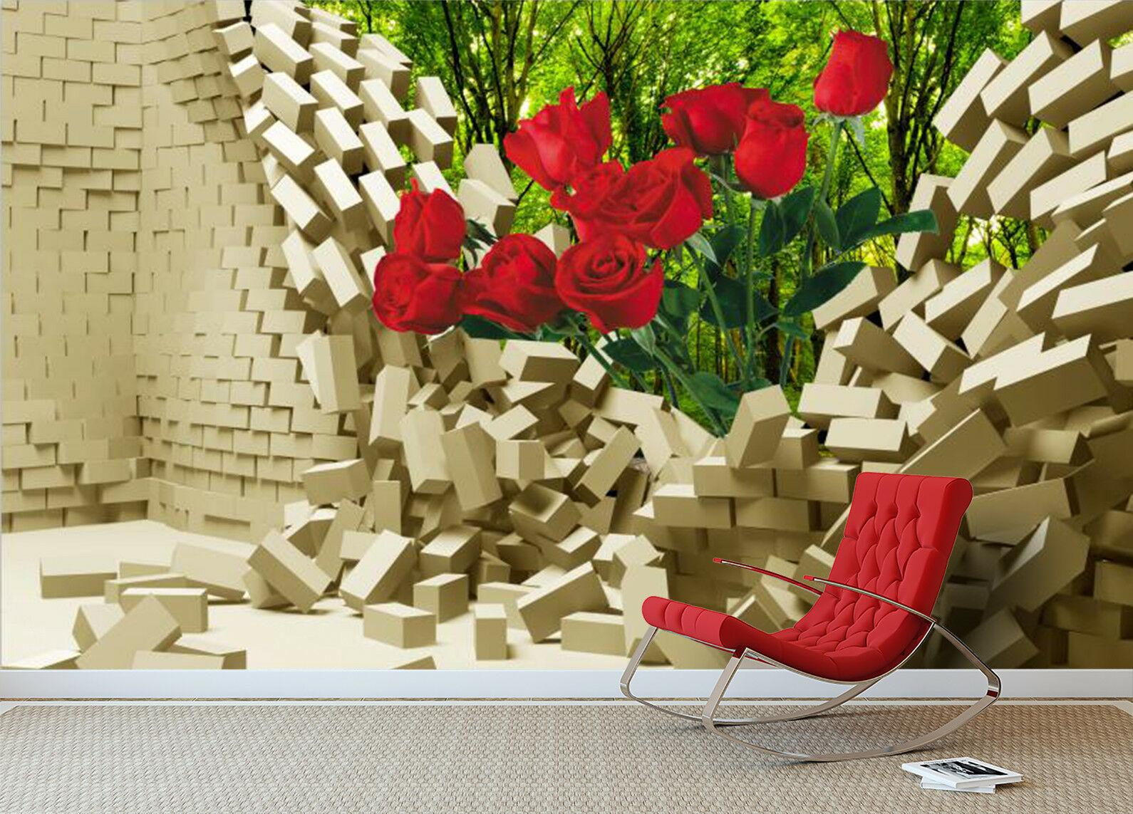 3D rot Flower Plant 87 Wallpaper Mural Wall Print Wall Wallpaper Murals US Carly