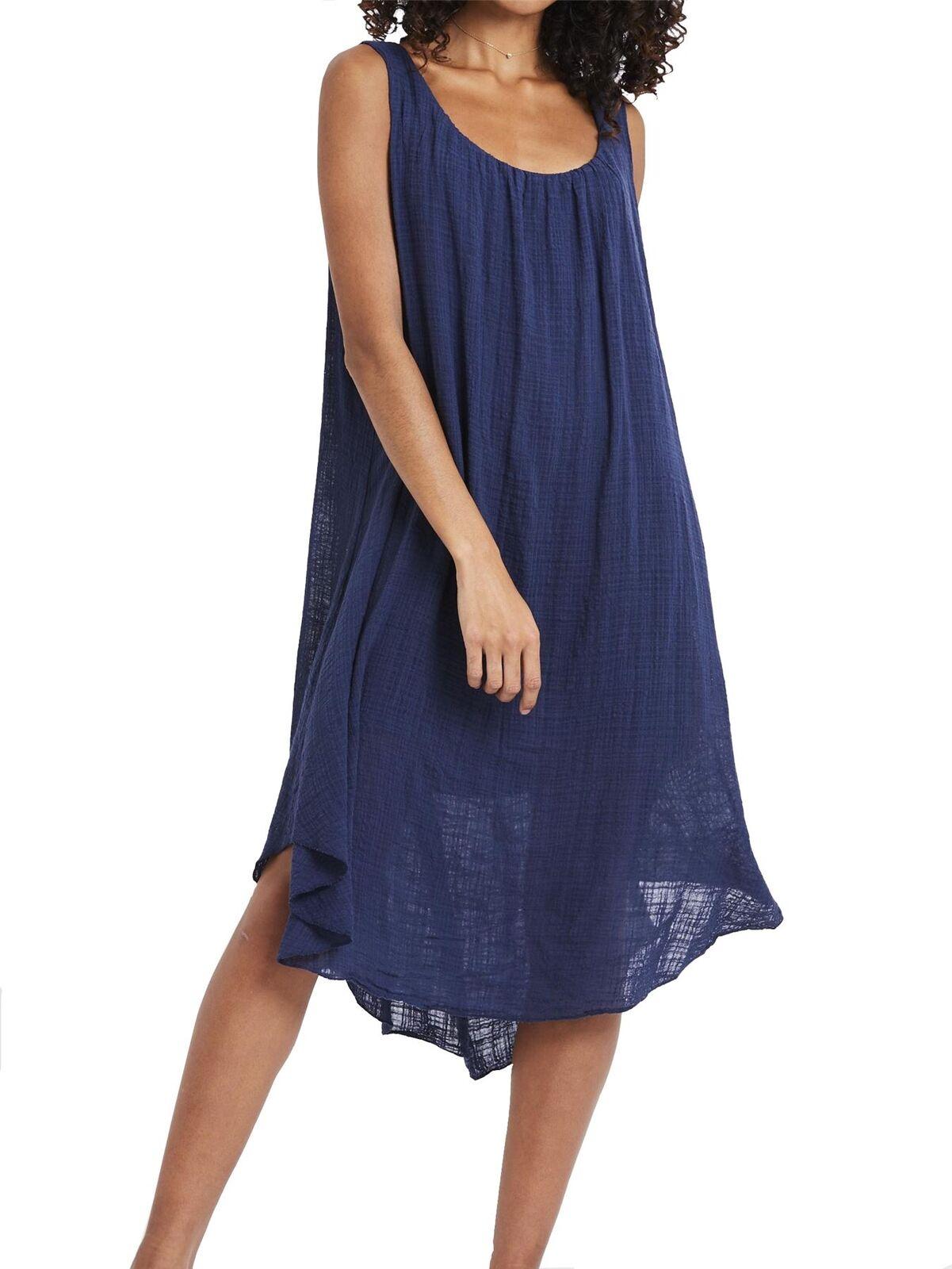 Navy Blu Cotone Layer Midi Dress