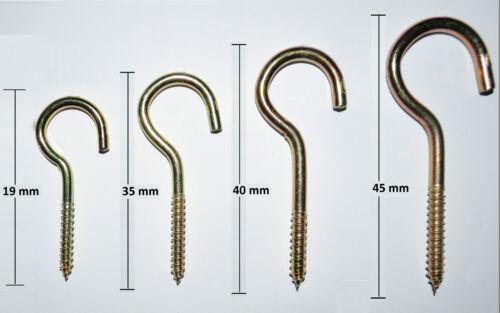 10 Metal Cup Screw Hook Heavy Duty Mild Steel Zinc Plated Loop Peg Dress Hooks